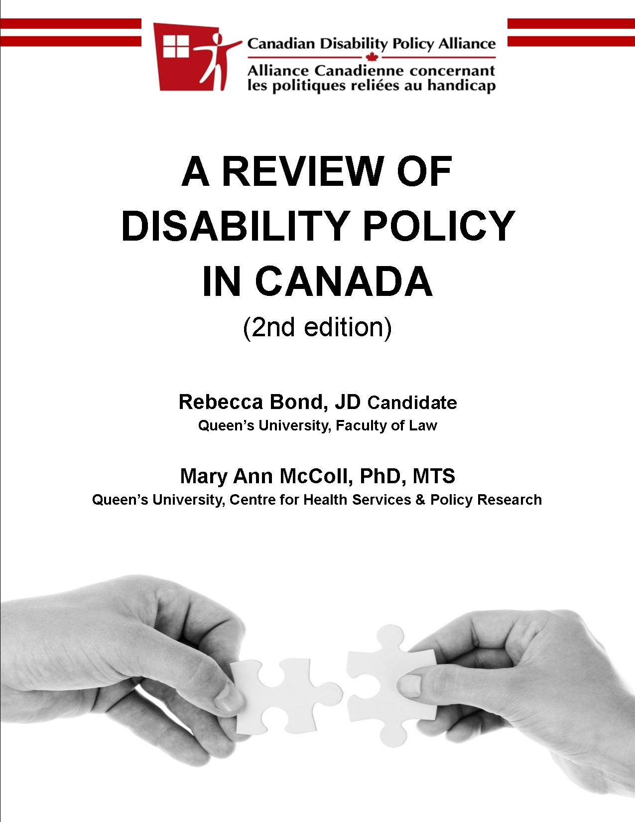 A Review of Disability Policy in Canada 2013 report cover